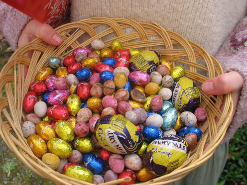 Easter basket with chocolate eggs.