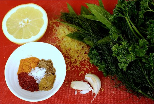 Delightful combination of spices, garlic, herbs and lemon juice