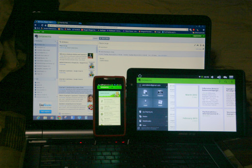 Evernote on my Computer, Tablet and Droid Razor