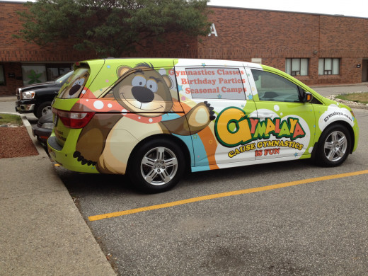 Usage of logo on vehicle wrap for the children's indoor playground