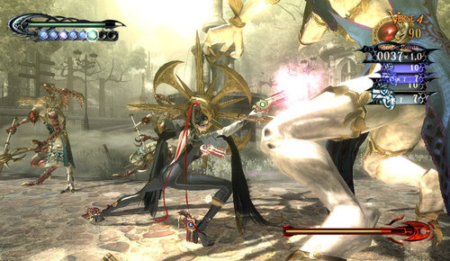 Bayonetta has weapons on both arms and legs, making her fights not only quick, but fun.