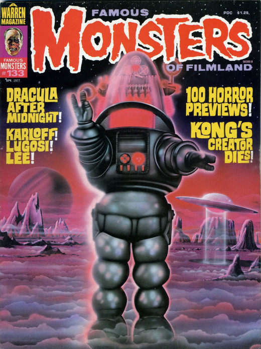 Robby The Robot on the cover of Famous Monsters Magazine #133