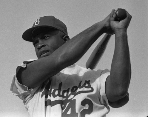 Robinson with the Brooklyn Dodgers in 1954.