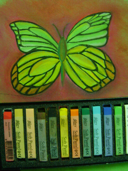 How to draw and color a butterfly using soft pastels