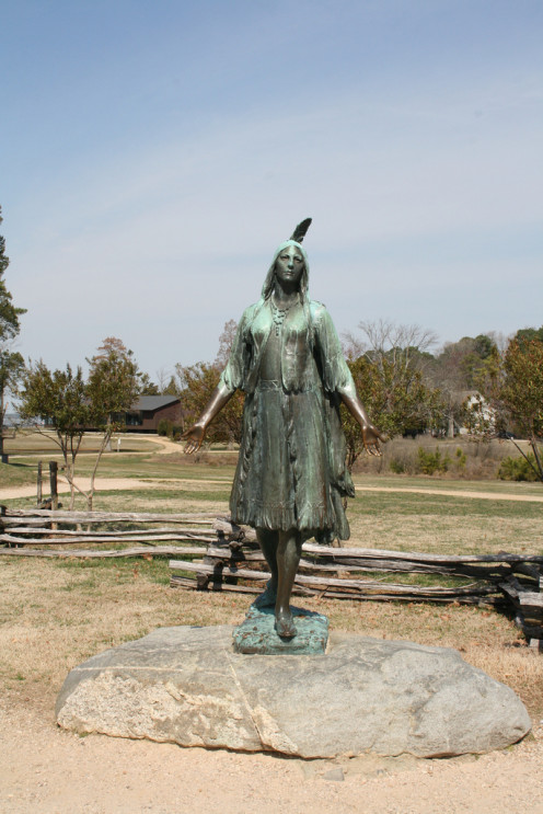 Pocahontas was a friend to settlers in Jamestown, Virginia.  A similar statue of Pocahontas appears in England, where Pocahontas lived for a short period.