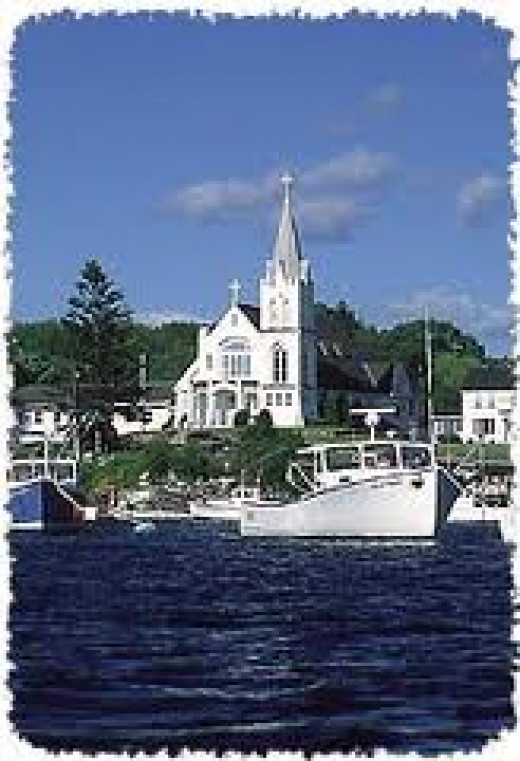 Boothbay Harbor and church.
