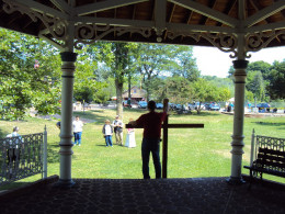 Preaching from the pavilion in the park