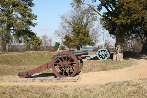 Cannons at Yorktown.  Park rangers give a surprisingly entertaining and detailed tour, including these cannons.