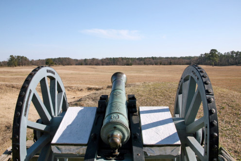 British field cannon overlooks the area the Battle at Yorktown was fought - and the redoubts were located.