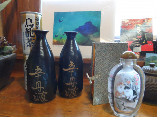 Pottery from China and Hand painted glass bottle from China