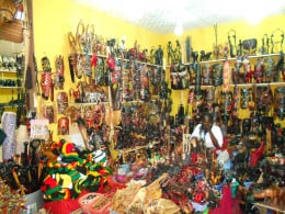 Wooden things from South Africa (This picture is taken from inside of South Africa Tent).