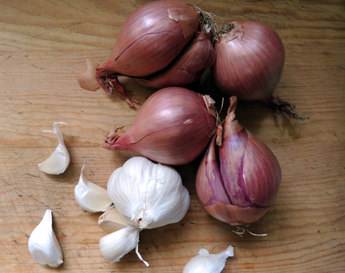 gather your shallots and garlic