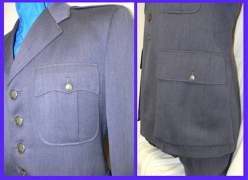 "USAF Blue Shade 84 Service Dress Coat [1949 - 1965]. The lower pockets and the uniform's shade of blue resulted in the nickname ""Captain Kangaroo pockets."" US Armed Services members and families certainly know what sacrifice entails."