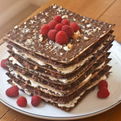 No Bake 7 Layer Matzo Cake