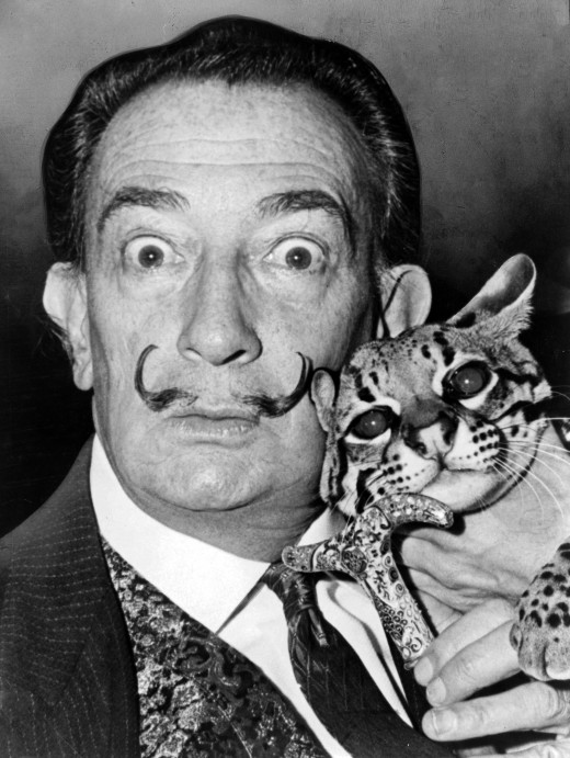 Salvadori Dali with his Pet Ocelot
