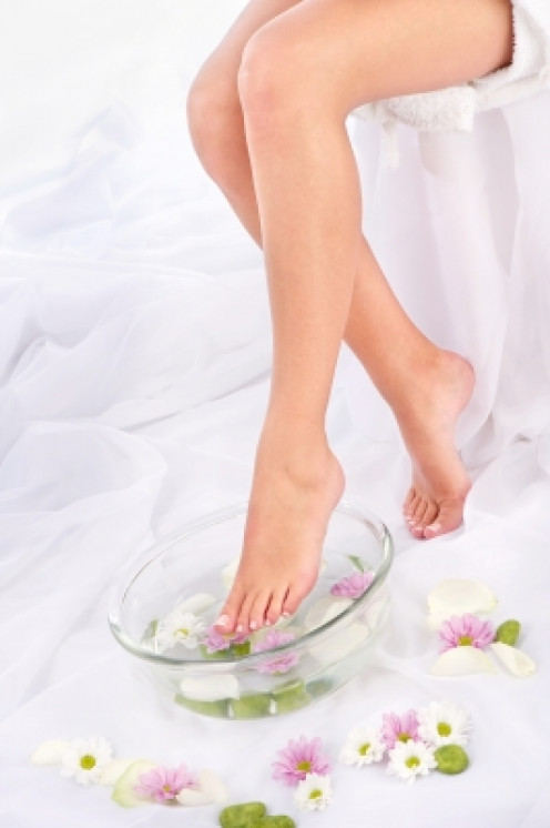 A relaxing foot soak may be done as a part of your spa treatments to soften and prep the feet.