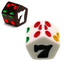 D7 dice in the shape of pentagonal prisms