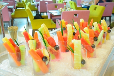 be creative in your presentation of food and drinks. these individual fruit cocktails on crushed ice look mouth watering.