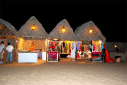 Tents in which Arabic dresses are sold