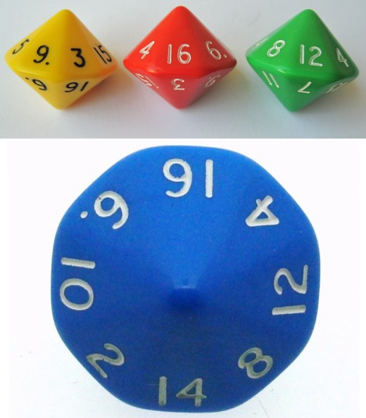 Different views of 16-sided dice.