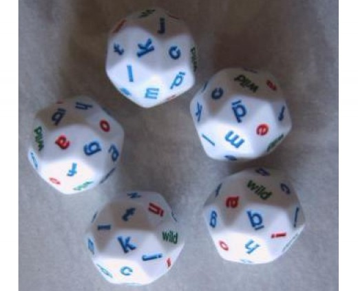 D30 dice with letters.