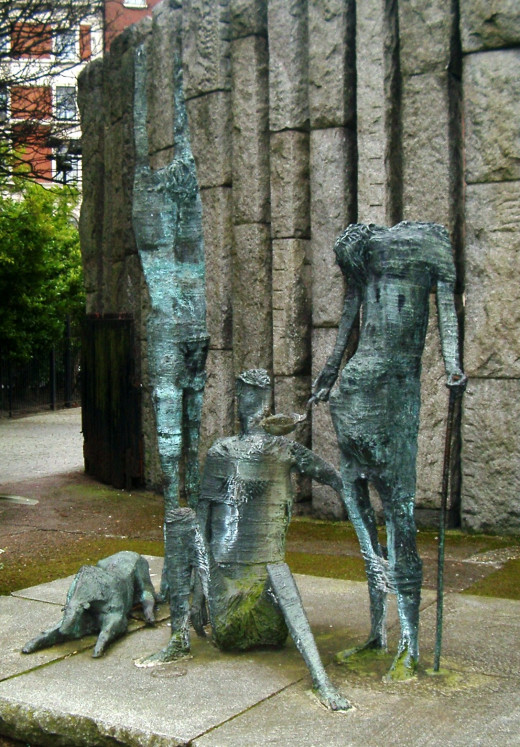 'Edward Delaney's famine statue at the corner of St Stephen's Green in Dublin'