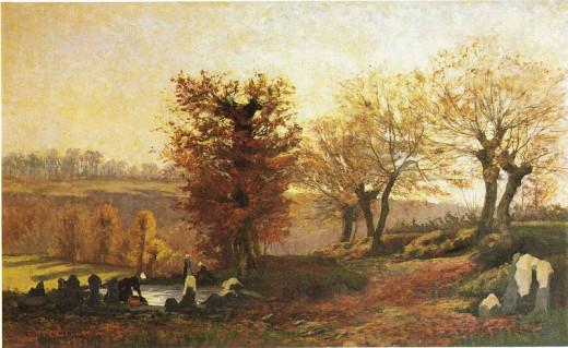 Vaskeplass i Bretagne by Kitty Lange Kiellan,  Norwegian painter (1843-1914)