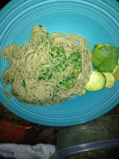 The pasta with pesto and sliced avocados.  We also had artichokes with the meal.