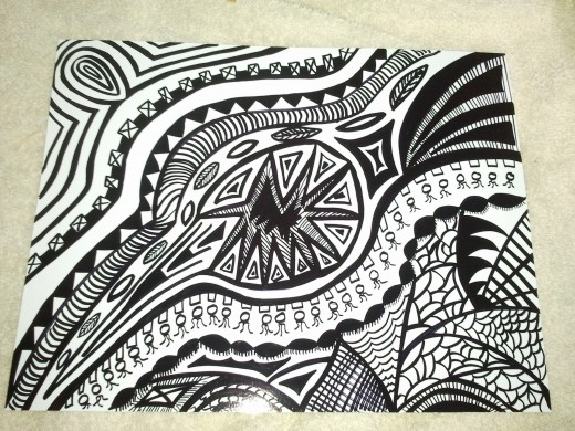 This Sharpie doodle cost less than a $1.50 in supplies and by far is my cheapest artwork. It still took me almost two hours to create.