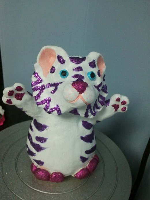 This tiger sculpture took me a little over an hour to sculpt and around two hours to decorate.