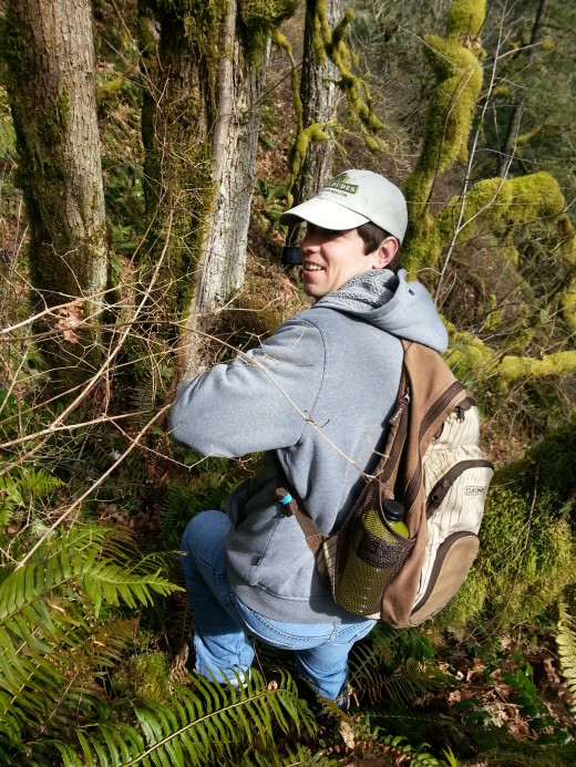 A candid picture in the forest of the pacific northwest.