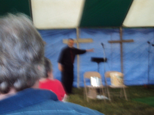 Doc Van preaching in our tent revival at South Dayton Baptist Church in Moraine, Ohio.