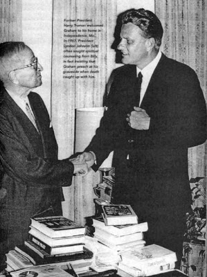 Graham and President Truman, both using a Freemason handshake, and Graham again with the hand on chest to show he is a Mason.