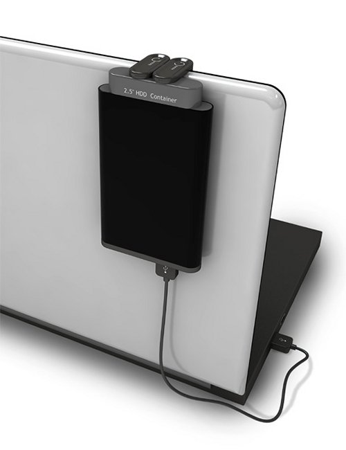 Hang your external hard drive on your laptop