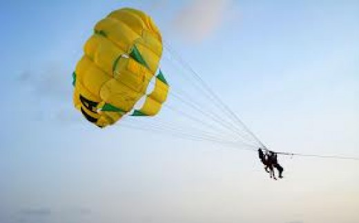 Parachuting is a dangerous but thrilling air sport. Each participant has an extra back up for an emergency situation.