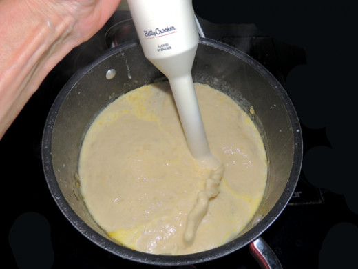 lightly blend to smooth with immersion blender