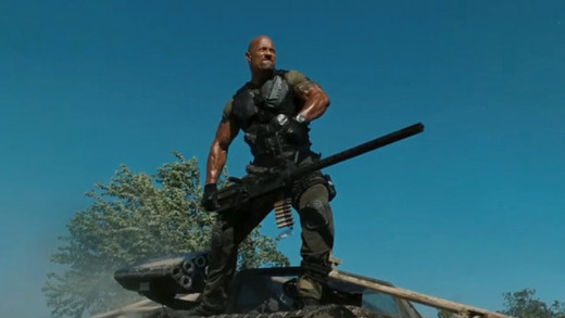 Dwayne Johnson stars as Roadblock in the action adventure movie G.I. Joe: Rataliation