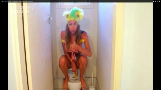 "Picture is from video below. Freelea or Freelee showing how to squat. She eats an all raw diet of 97% fruit. Click on this picture for bigger and better view. In the video she says ""Clean those pipes!"""