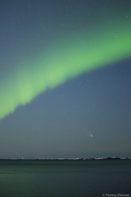 The comet Pan-STARRS, which was 'just recently' discovered photographed with the Northern Lights.