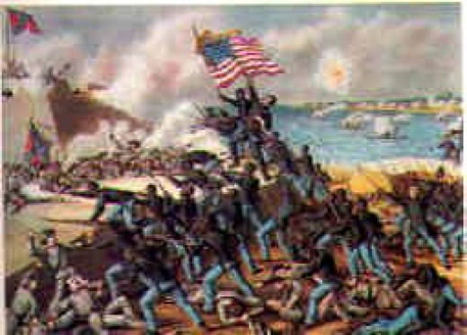 Depiction of 54th Massachusetts Infantry Attacking Fort Wagner
