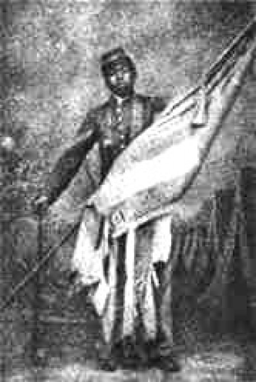 William Carney with flag he rescued.