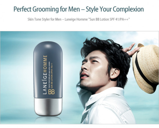 An advertisement showing a model wearing LANEIGE Homme Mens.