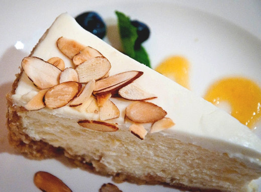 Almonds add flair to cheesecakes and crushed almonds can be used in the base