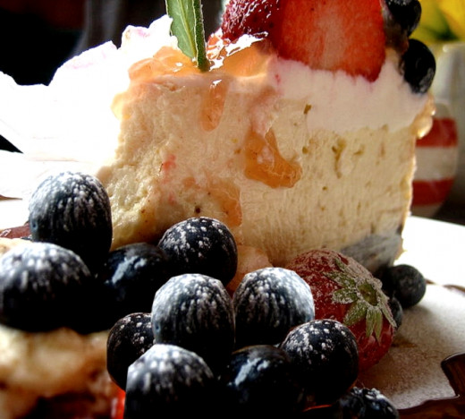 Fresh fruit goes so well with low cal and low fat cheesecake