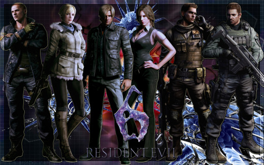 The main cast from L to R: Jake (AKA dude no one cares about), his partner Sherry, Leon, Leon's partner Helena, Chris's partner Piers and Chris himself.