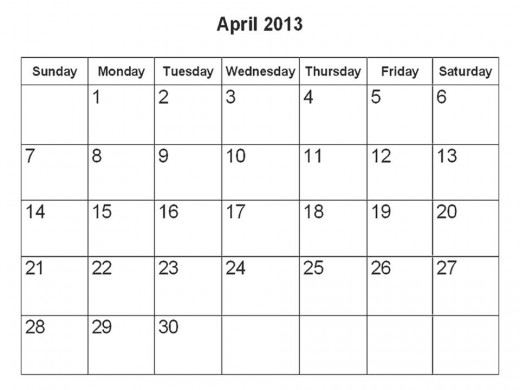 Plan your daily celebration for each day of April