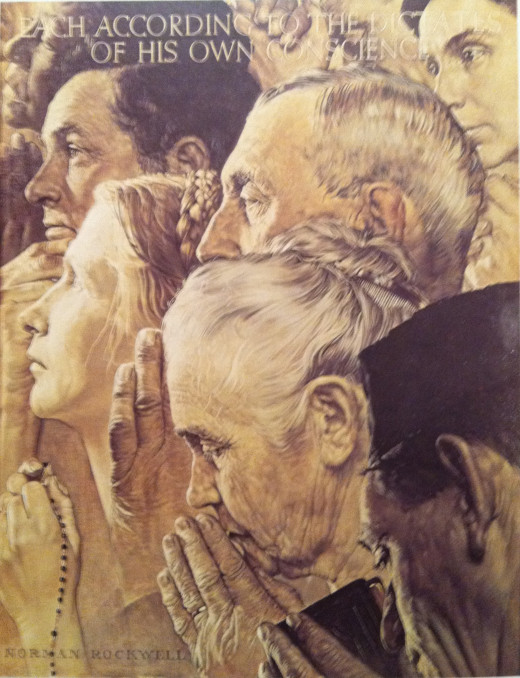 Norman Rockwell's Freedom to Worship--Rose Hoyt was the model for the woman on the left holding the rosary.