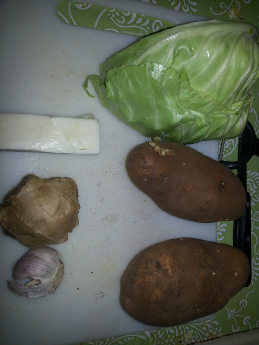 cabbage, potato, Ginger, Garlic and cottage cheese