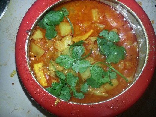 Mix veg curry garnished with fresh coriander leaves ready to eat