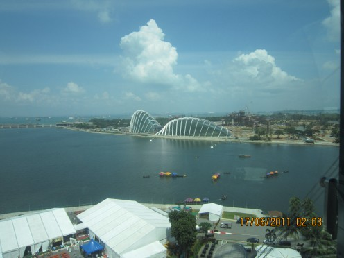 View from Singapore Flyer- Esplande on the other side